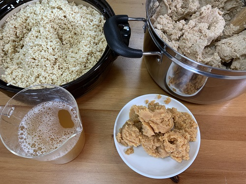 種味噌、種水、塩切り麹、大豆